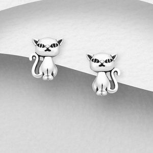 Kid's Sterling Silver Cat Earrings